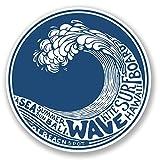 2autocollants pour voiture / vélo / ordinateur - Motif Hawaii Bali Wave # 4196
