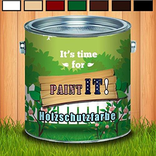 Paint IT! Holzschutzfarbe langzeit Wetterschutzfarbetraditionell angefertiger Holzschutz in Weiß Beige Schweden-rot Grün Dunkelbraun Rotbraun SchwarzDauerschutzfarbe