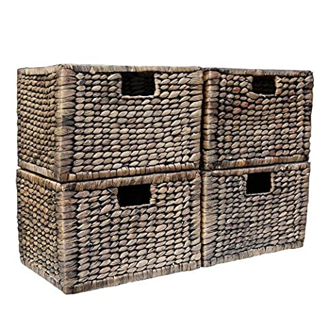 Set of 4 Loxley Storage Basket Boxes in Black Wash Water Hyacinth / Gift Ideas