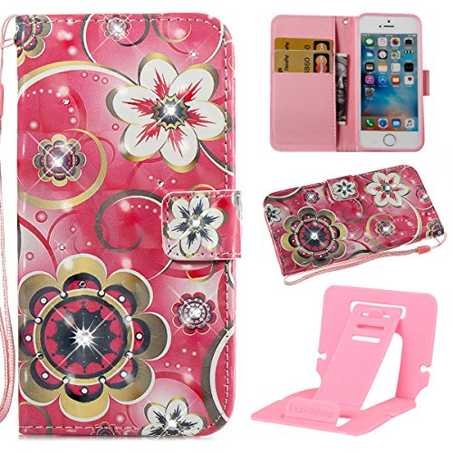 iPhone 5S Custodia Pelle, Cover per iPhone SE Portafoglio, Ekakashop Diamante Strass Glitter Sparkle Blingbling Fashion Colorata 3D Painted Ragazza Fantasia Lusso Libro Wallet PU Leather Morbido Silic Mandala