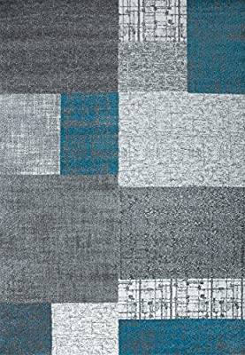 Designer Rug Low Pile/Turquoise Blue, Grey and White Tile Dimensions: 80X 150CM Easy-Care–Vimoda