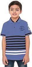BodyGlove Boy Kids Casual Polo Neck Collar Striped T-Shirt, Half Sleeve, Cotton