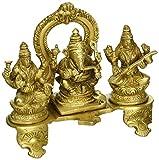 ShalinIndia Fatto a mano in ottone indiano Ganesha, Lakshmi e Saraswati statua–indù religiosa articoli per la casa Puja o tempio–15,2x 15,2x 5,1cm–1.2kg