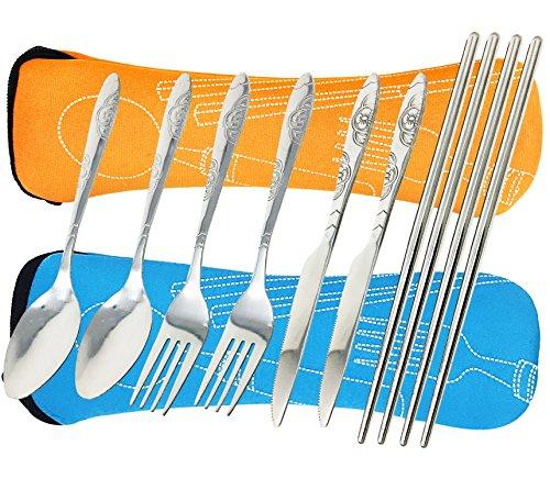 FIBOUND Camping Utensilios al aire libre Cuchillería Conjunto de grado militar de tenedor, cuchara, cuchillo y palillos de acero inoxidable (Azul y naranja)
