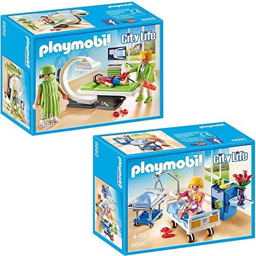 PLAYMOBIL® City Life Die freundliche Kinderklinik 2-tlg. Set 6659 6660 Röntgenraum + Krankenzimmer mit Babybett