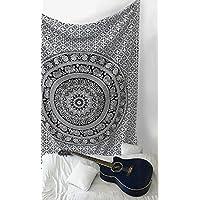 sheetkart Bianco e nero elefante mandala hippie arazzo indiano tradizionale coperta telo da spiaggia, da parete Collegio dormitorio Bohemian Wall Hanging Boho Doppia copriletto Small
