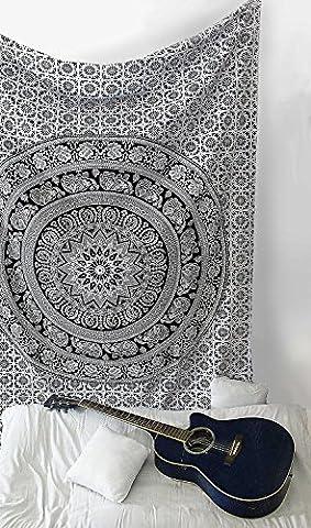 SheetKart Mandala tapisserie traditionnelle éléphant Petite tenture murale–Noir et blanc