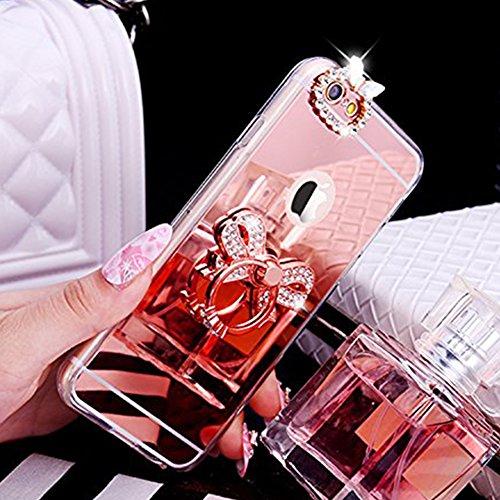 Custodia Cover iPhone 7,Ukayfe Lusso Custodia per iPhone 7 UltraSlim Specchio Copertura Cover Case Protettiva con Bling Strass design,Moda Serie Completa Screen-Protector,Skin Custodia Stilosa custodi Arco di Diamante Oro rosa 3#