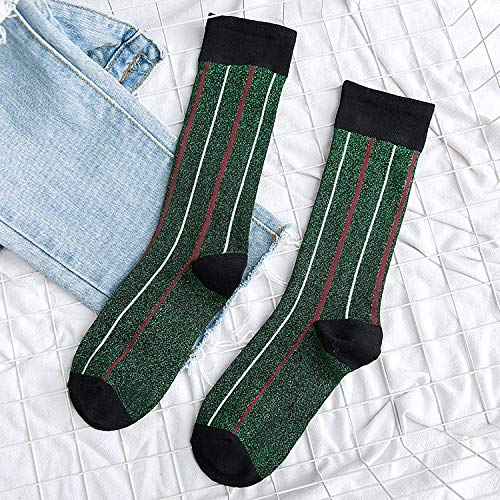 SOCWF Vertikale Streifen-Muster-helles nettes lustiges Frauen-Ashion buntes beiläufiges Baumwollstapel-Haufen-Socken-Grün eine Größe -