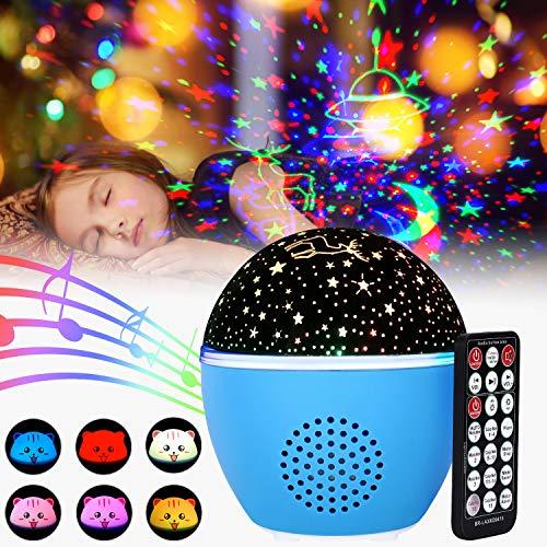 Lampada proiettore per bambini golwof luce notturna led lampada proiettore di stella ed oceano con 16 colori, 8 luminosità, 5 velocità di rotazione, temporizzazione per decorazioni compleanno natale