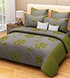 Home Candy 144 TC 100% Cotton Green Flowers and Checks Double Bed Sheet with 2 Pillow Covers