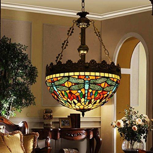 makenier Vintage Tiffany-Stil gebeizt Glas seitenverkehrt Libelle groß Deckenleuchte Hängelampe Fassung, 40,6cm Lampenschirm