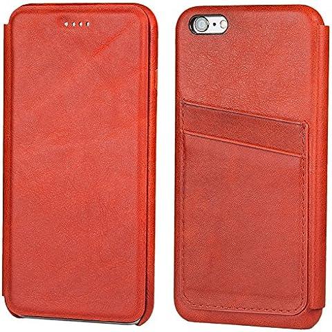 Funda tipo folio FUTLEX de piel auténtica estilo retro para iPhone 6 Plus / 6S Plus - Rojo – Diseño único – Ultra fina - Corte y diseño precisos – Hecha a