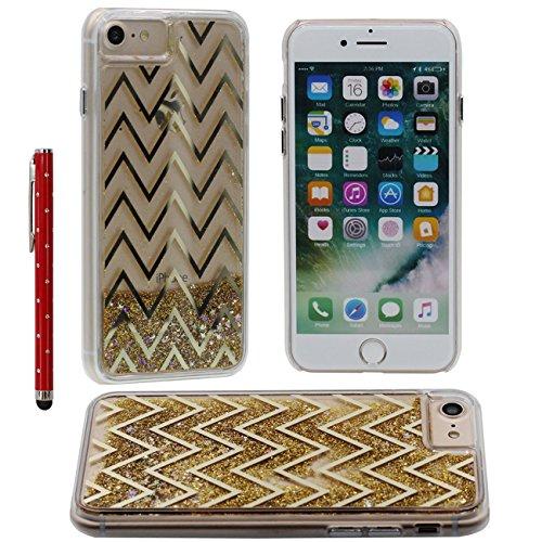 Liquido Acqua Custodia per iPhone 7, iPhone 7 Case, Trasparente Dura Copertura con Fluente Sabbia Oro Creativo Metallo Linee Design per Apple iPhone 7 4.7 inch Con 1 penna dello stilo oro-4