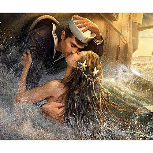 Meerjungfrau Kostüm Und Seemann - OILPHL Malen Nach Zahlen Für Erwachsene, Kinder Meerjungfrau-Seemann-Liebe Für Freund Senioren Junior No Frame 40X50Cm