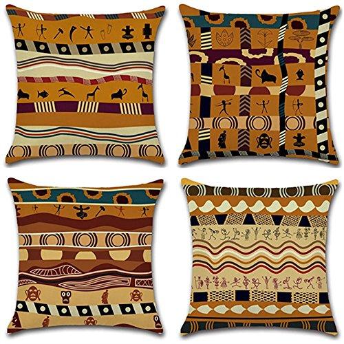 PYHQ Set von 4 Leinen Zierkissenbezüge Kissenbezug,Afrikanisches altes Totem,18 X 18 Inch