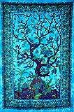 Bohemian Mandala Tapisserie Baumwolle indischen Wandteppichen Traditionelle Deko-Stil handgefertigt Tisch Abdeckung Ethnic Home Decor Beach Überwurf Yoga Matte Art Art Deco WWKB1515 blau