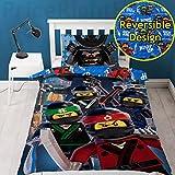LEGO Ninjago Film-Crew-Bettbezug mit Passendem Kissenbezug, Polyester-Baumwolle, blau, für Einzelbetten