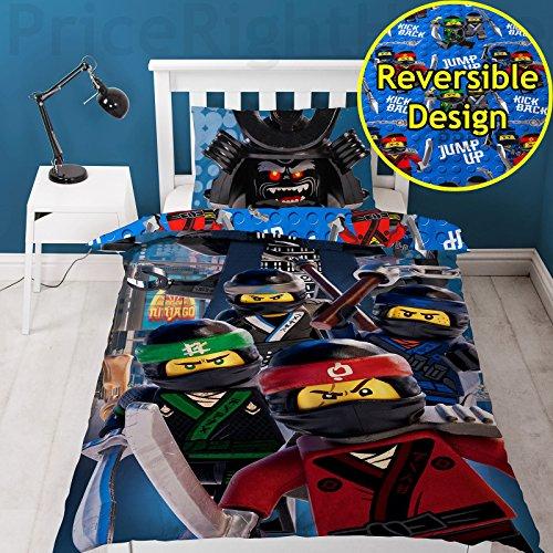 LEGO Ninjago Film-Crew-Bettbezug mit passendem Kissenbezug, Polyester-Baumwolle, blau, für Einzelbetten -