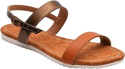 Meriggiare Ladies Casual Flat Slingback Strap Sandals for Women