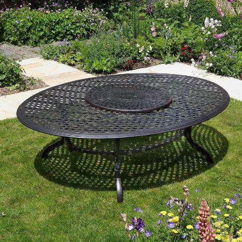 Victoria 250 x 180cm ovales Aluminium Gartenmöbelset - 1 Victoria Tisch + 10 APRIL Stühle