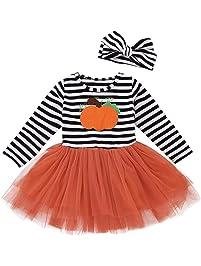 K-youth Tutu Princesa Vestido de Niñas Halloween 2018 Ofertas Calabaza Impresión Rayas Vestidos de