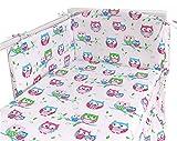 Bettwäsche-Set für Babybett, inkl. Bettumrandung, gepunktet, Bio-Baumwolle, 3-teiliges Set