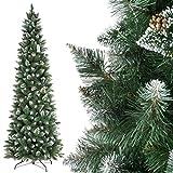 FairyTrees künstlicher Weihnachtsbaum Slim, Kiefer Natur-Weiss beschneit, Material PVC, echte Tannenzapfen, inkl. Metallständer, 250cm, FT09-250