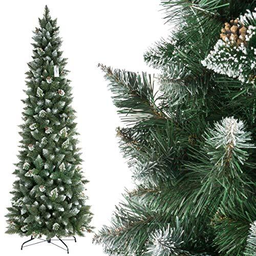 Fairytrees albero di natale artificiale slim, pino innevato bianco naturale, materiale pvc, vere pigne, incl. supporto in metallo, 250cm