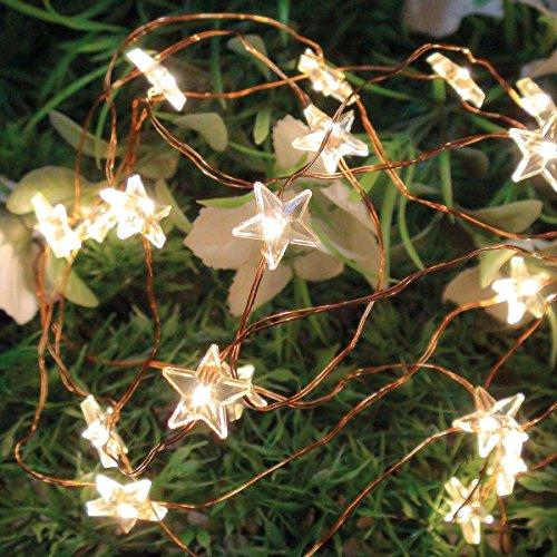 Alimentato a batteria, weihnachtliche filo di rame catena di luci a forma di stella con 20led a luce bianca calda, von festive lights