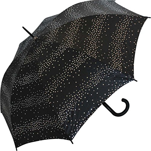 Esprit Automatik Regenschirm Stockschirm Milky Way mit silbernen metallic Sternen