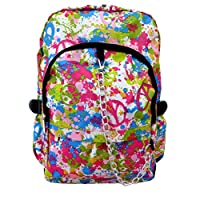 Paint Splash Peace Soft Canvas Pattern Backpack Rucksack | School College Cool Hippy Bag