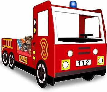 Deuba Kids Bed Toddler Childrens Fire Engine Truck Wood Storage Slatted Frame Included 200 x 100 cm