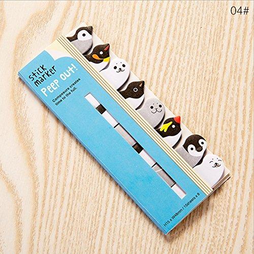 1pz Cartoon Animal Sticky segnapagina, Sticky notes bandiera marcatori Bookmarkers 12.5 * 5cm 04#