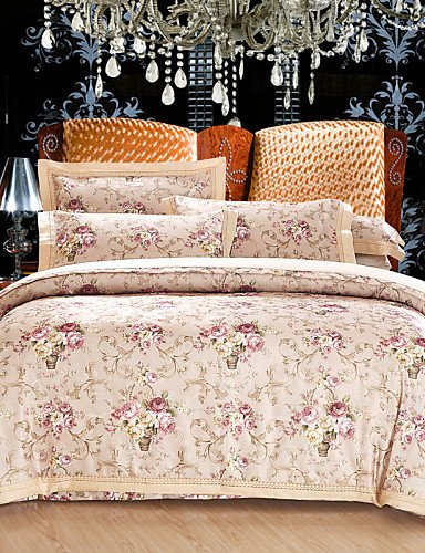 ZHUAN GAOHAIFQ®, vierteilige Anzug, Baumwollsatin Jacquard-Baumwolle 4 Stück Bettwäsche-Package von 1.5m-1.8m Bett / 2.0m Bett Bettwäsche Set, Queen