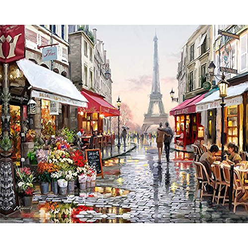 Wedding Frame-set (Painting By Numbers, VMAE Diy Oil Painting Paint By Number Kits, Drawing On Canvas By Hand Coloring Arts Crafts For Home Living Room Office Christmas Decoration Gifts Without Frame - Paris Street)