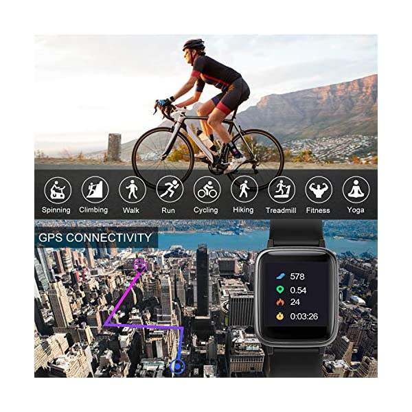 TOOBUR Smartwatch, IP68 Impermeable Reloj Inteligente con Pulsómetro, 1.3 Pulgada Pulsera Actividad Inteligente con… 5