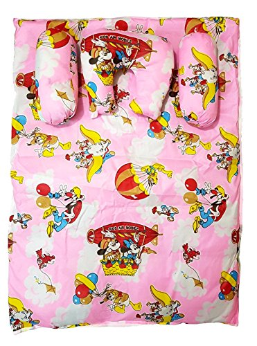 BRANDONN FASHIONS Newborn Portable Cartoon Printed Cotton Shearing Baby Bedding Set With 3 Pillows (Assorted Colors And Prints)