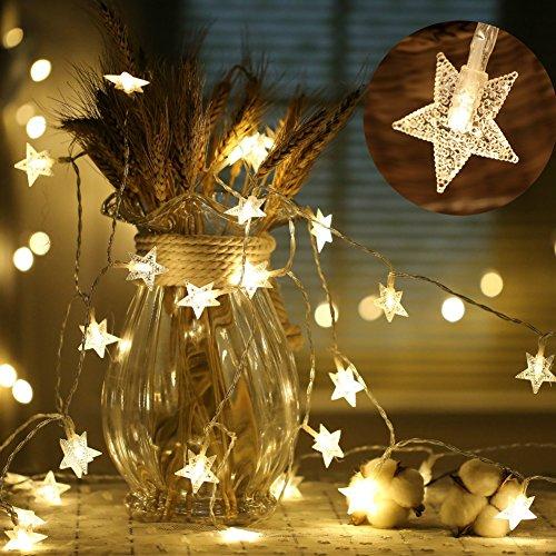 LIVEHITOP Estrella Cadena de Luces 40 LED 6 Metro Pilas, Decorations Regalos Luminosa para Fiesta Bodas Festival Navidad Dormitorio Interior Exterior Blanco Cálido