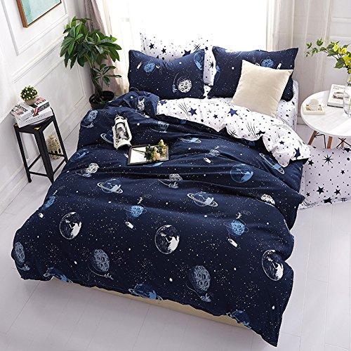 Parure de lit Galaxy Planète Motif Polyester-Coton Bleu Housse de Couette Simple Double King Size (220 x 240cm)