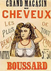 barbier Vintage & Salon boussard Grand Magasin de cheveux, France C1865Carton brillant A3250g/m²