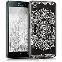kwmobile Funda para Huawei Ascend G620s - Case plástico para móvil - Cover trasero Diseño Flores en blanco transparente
