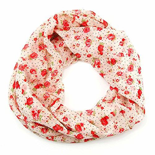 MANUMAR Loop-Schal für Damen | Hals-Tuch in weiß rot mit Blumen Motiv als perfektes Frühling Sommer Accessoire | Schlauchschal | Damen-Schal | Rundschal | Geschenkidee für Frauen
