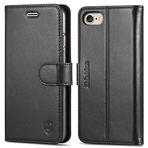 iPhone 6S Case, SHIELDON iPhone 6 Leather Case, [Lifetime Warranty] Magnetic Flap Wallet Design [Card Slots] [Kickstand Feature] Folio Case for Apple iPhone 6S and iPhone 6, Black (4.7 inch Display)