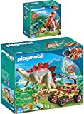 Playmo PLAYMOBIL® The Explorers 2er Set 9431 9432 Motocross-Bike mit Raptor + Forschermobil mit Stegosaurus