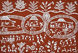 Exotic India Warli Village Scene - Warli Painting On Cotton Fabric - Folk Art of the Warli Tribe (Ma