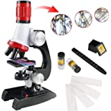 Lukzer Science Kits with Slides Educational Beginner Microscope Kit with LED 100X 400X and 1200X Magnification for Kids…
