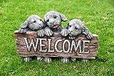 Bienvenue chiots Statue de chien de jardin Effet pierre Fonte Décor