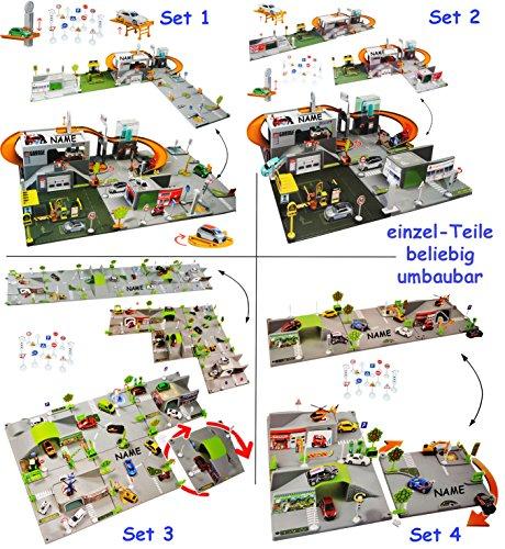 """XL 3-D Spielmatte - """" Straße mit Parkhaus """" - incl. Name - UMBAUBAR - 4 Teile mit Brücke - 1/64 - Feuerwehrstation - Tunnel - Tankstelle - Krankenstation - Waschanlage - Autowerkstatt - Verkehrszeichen + Zubehör - für Auto / Fahrzeuge zum Spielen + Bauen aus Plastik - für Kinder / Kunststoff - Deko - Spielteppich Kinderteppich / Spieleteppich - Spielwelt Spielset - Werkstatt - Autogarage - Parkgarage - Hebebühne - Spielzeugwelt 1:64"""