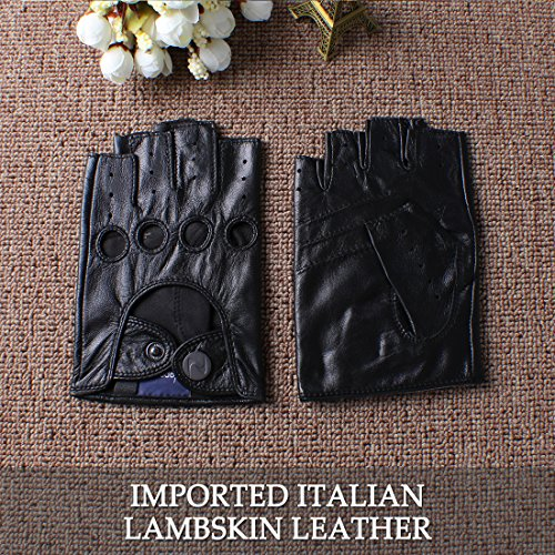 nappaglo d'homme en cuir italien de la conduite sans gants gants de moto du doigt les doigts du Black